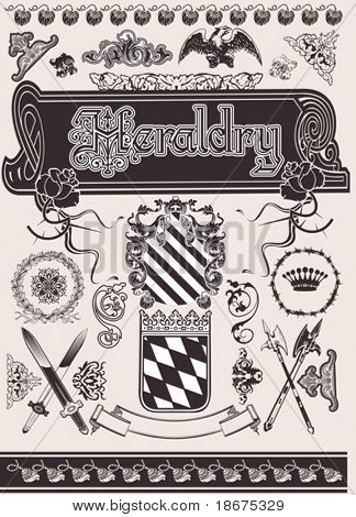 Vector Set Heraldry. Elements For Page Ornate Design.