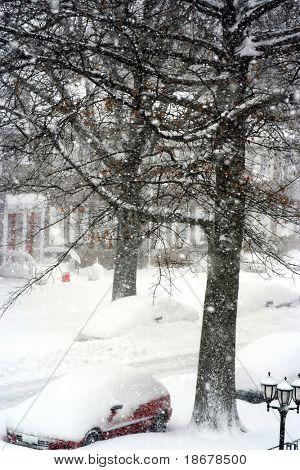 Tormenta de nieve de invierno en la ciudad de Nueva York