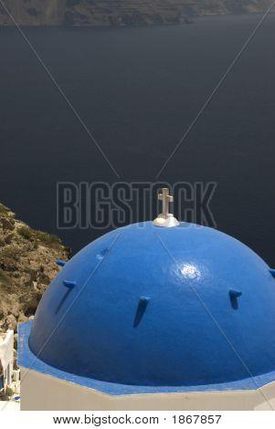 Greek Island Church Over Sea