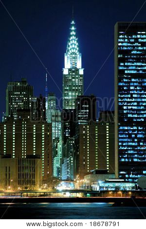 Midtown Manhattan Skyline bei Nacht, New York City