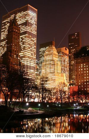Central Park and manhattan skyline at early night, New York City