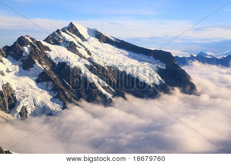 Mountain Cook Peak With Mist Landscape From Helicopter, New Zealand