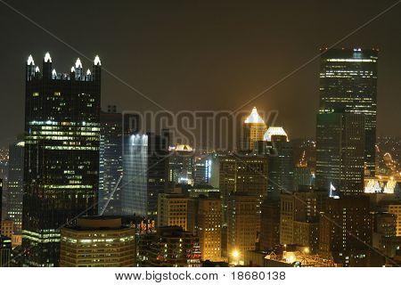Pittsburgh's skyline from Mount Washington at night.