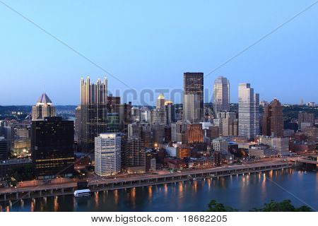 Pittsburgh's skyline from Mount Washington at Sunset