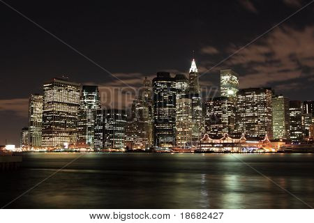 Lower Manhattan skyline at Night Lights, New York City