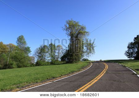 Country road stretching into the horizon on a Clear Blue Day