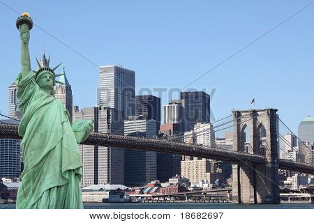 New York City Skyline and The Statue of Liberty