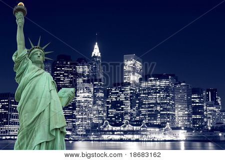 Die Statue of Liberty und Manhattan Skyline bei Nacht, New York City