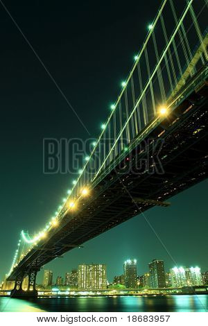Manhattan Skyline and Manhattan Bridge At Night,   New York City