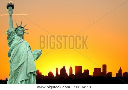 New York City Skyline and The Statue of Liberty at Sunset , Lower Manhattan