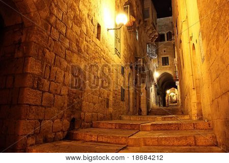 Ancient Alley in Jewish Quarter ay Night, The Old City Jerusalem