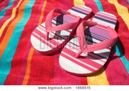 Stripey Flip Flops