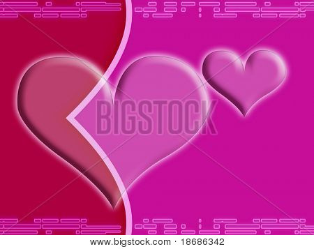 Computer designed abstract background - Valentine's day card with two harts
