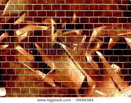 Computer designed grunge textured graffiti brick wall background
