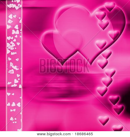 Computer designed abstract background - Valentine's day card with harts