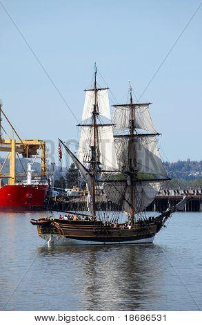 A Galeon sailing.