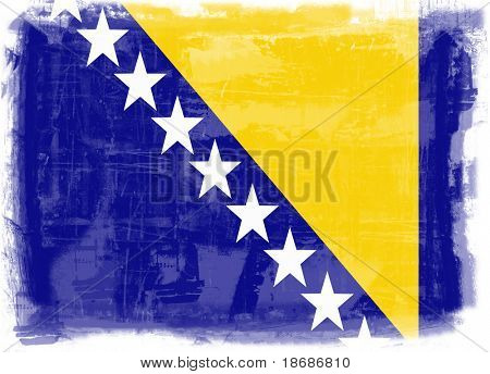 Computer designed highly detailed grunge  illustration - Flag of Bosnia and Herzegovina