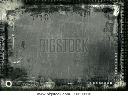 Computer designed highly detailed  border and aged textured  background with space for your text or image. Nice grunge element for your projects.