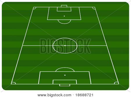 Illustration of a football pitch with green stripes