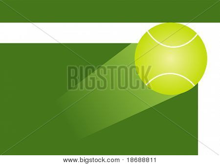 Vector illustration of tennis ball in motion hitting the corner of the court