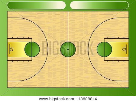Vector illustration of a basketball court