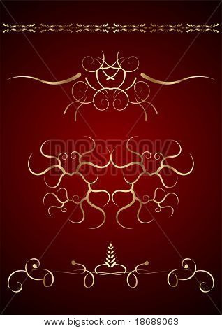 Editable vector golden graphic design elements on dark red background. Easy to change colors.