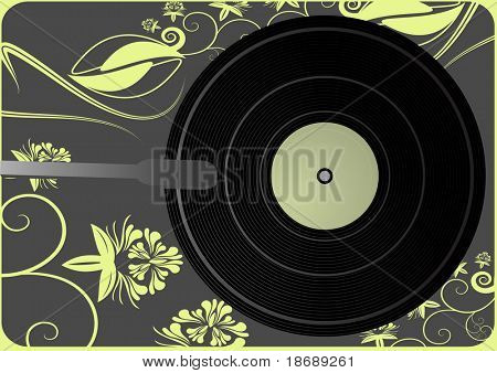 Editable vector background - Vinyl player background