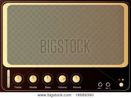 Editable vector retro guitar amp background