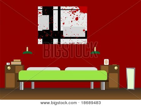 Editable vector - dormitorio moderno