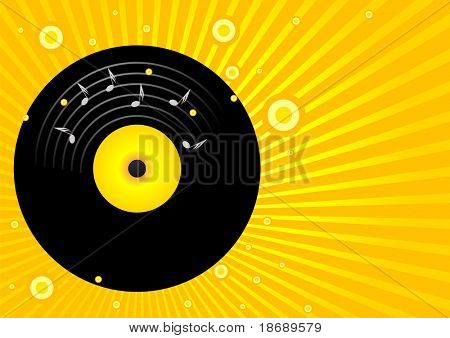 Editable vector party background - Old vinyl