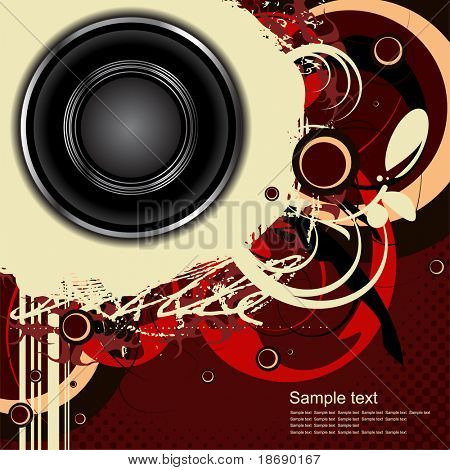 Editable vector audio background with space for your text