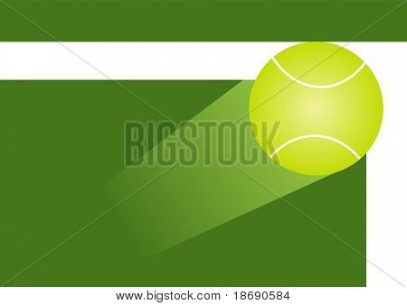 Illustration of tennis ball in motion hitting the corner of the court