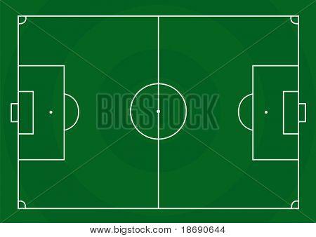 Beispiel für ein Fußballfeld mit grünem Gras in Form von Kreisen