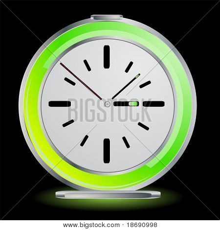Editable vector green glowing alarm clock on black background