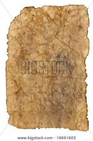 Highly detailed textured antique paper with burned edges studio isolated on white .