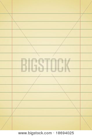 Editable vector background - old yellow notebook paper with space for your text