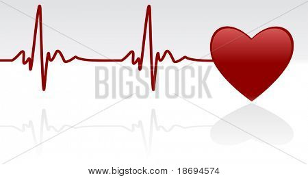 Medical background - heart and heartbeat symbol on reflective surface