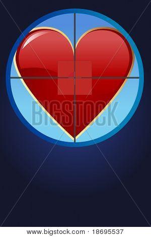 Editable vector illustration - Hearth on cross hair
