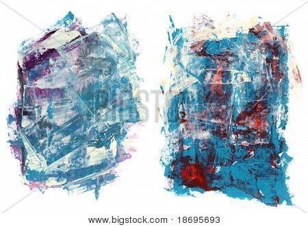 Set of abstract high resolution distressed watercolors hand painted by me. Objects are isolated on white and usable as grungy backgrounds for you projects.
