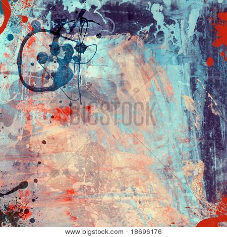 Computer designed high detailed grunge abstract textured watercolor style background - collage, with space for your text.