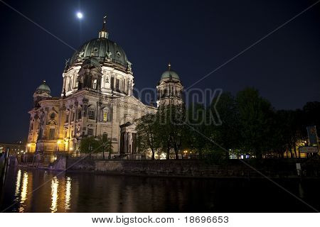 Berliner Dom And The River Spree At Night