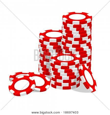 Casino vector illustration red chips on white