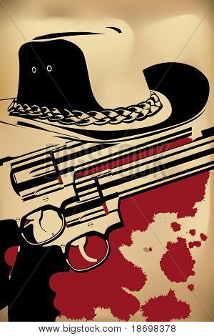 vector cowboy background (revolver and hat on brown)
