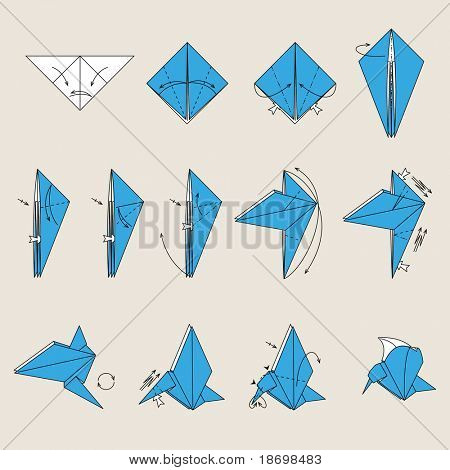 Origami blue vector bird on light brown background