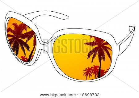 Vector black outline sunglasses and tropic reflection