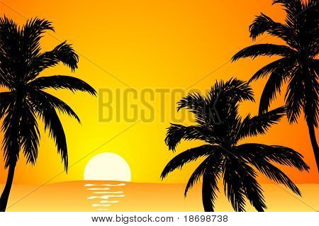 vector Summer scene in orange colors (sunrise)