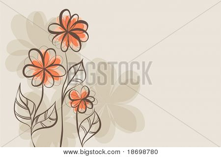 beautiful Floral vector background (brown flowers on light)