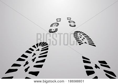 Black vector traces of feet on gray background