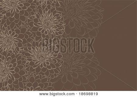 beautiful Floral vector background (brown flowers on dark)