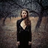 Beautiful Girl In In Black Vintage Dress With Curly Hair Posing In The Woods. Woman In Retro Dress L poster